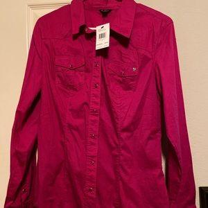 Guess L/S Suzie Poplin Shirt-Radiance Rose